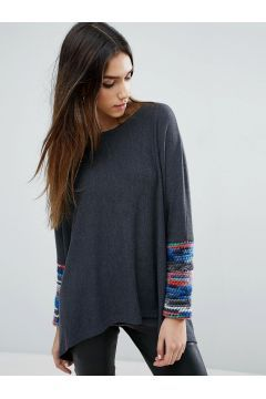 Traffic People Loose Fit Jumper With Contrast Sleeve - Multi