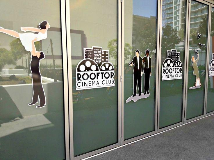 Custom window graphics for the roof top cinema club-vinyl decals