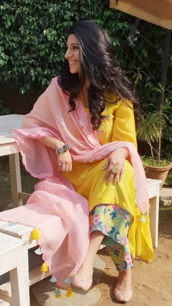 VeroniQ Trends – Cotton Kurti with beautiful fully embroidered cotton Pallazzo salwar suit in Yellow, Pink, Blue Colors- Office wear