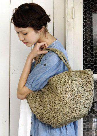 Схема вязания крючком очень красивой сумки. Я бы использовала льняные нитки.