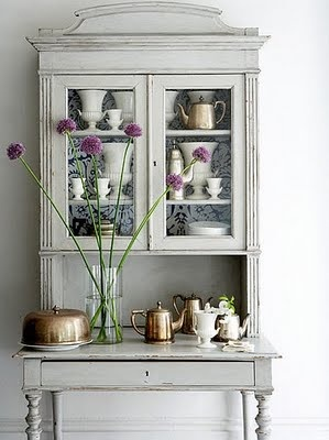 the cabinet, the white mixed with copper mixed with purple flowers. Love all of it.