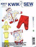 NEW Uncut Kwik Sew K3811 Unisex Baby Boy Girl Top Pant Romper Hood Jacket