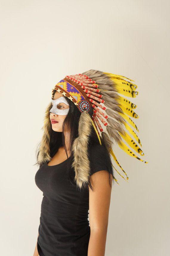 HALLOWEEN Yellow / Black Native American by bonesandskull on Etsy