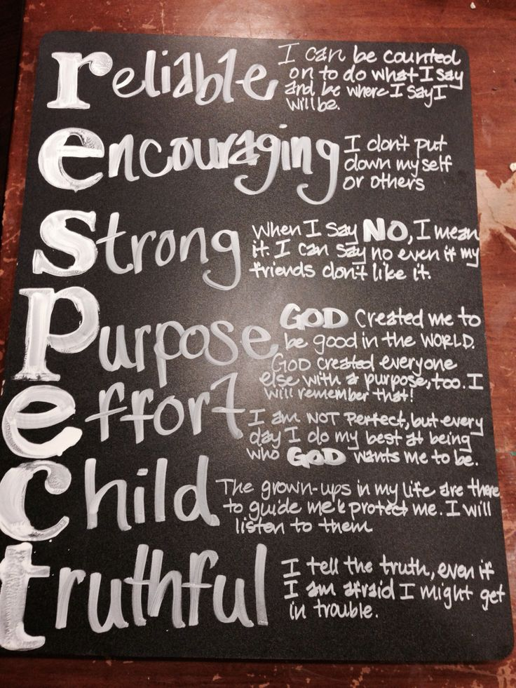 Teaching kids the meaning of RESPECT. Need to make this ...