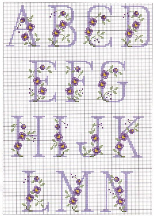 Alfabeto com letras Roxas