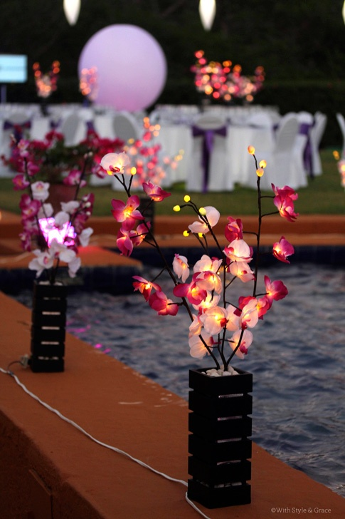 Illuminated Floral Centerpieces...beautiful during the day...show stopping at night.