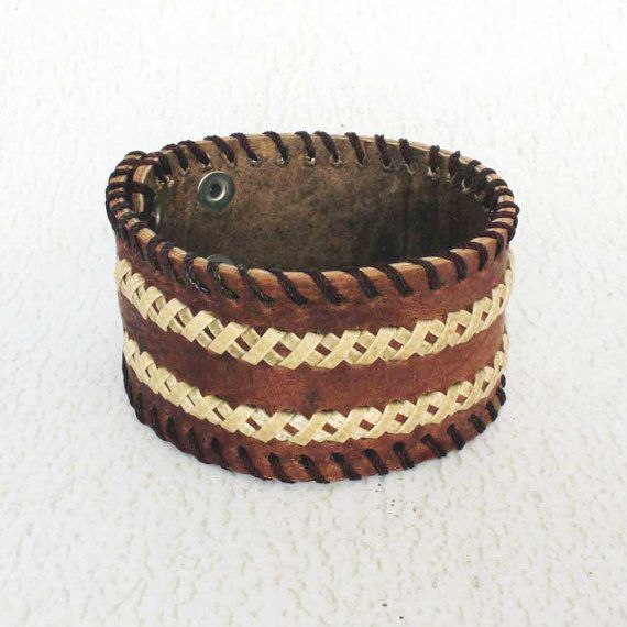 Brown Leather Wristband for Men  Leather Bracelet  Cool