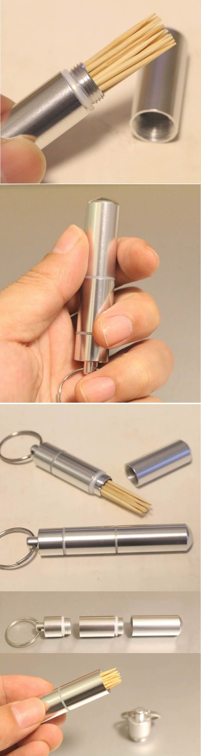 Metal Toothpick Holder With Key Ring