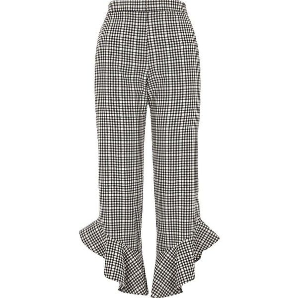 River Island Black gingham frill hem cropped pants ($80) ❤ liked on Polyvore featuring pants, capris, trousers, black, cropped pants, women, high rise trousers, high waisted cropped pants, straight pants and zipper pants