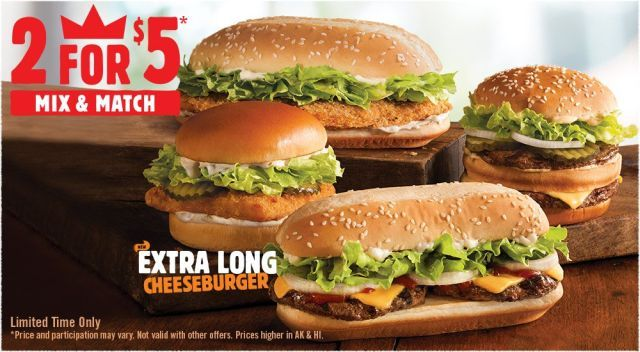 Burger King Extra Long Cheeseburger | features two beef patties, onions, lettuce, two slices of American cheese, ketchup, mayo on the same sesame seed hoagie bun.