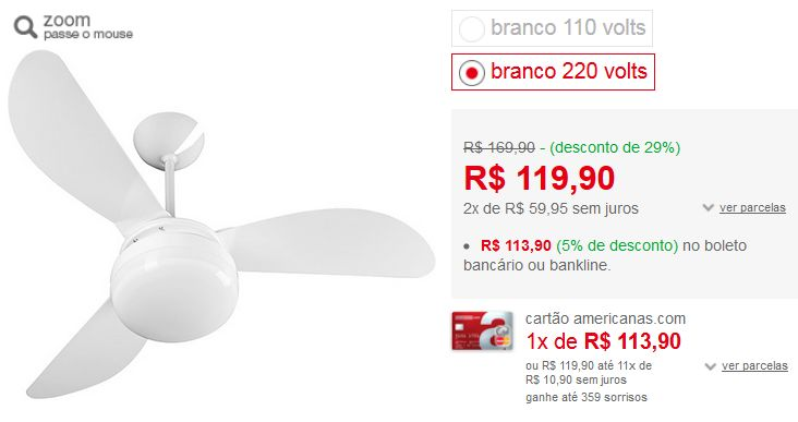 Ventilador de Teto Ventisol Fênix Branco 3 Pás CV3 Premium - Somente 220V << R$ 11390 >>