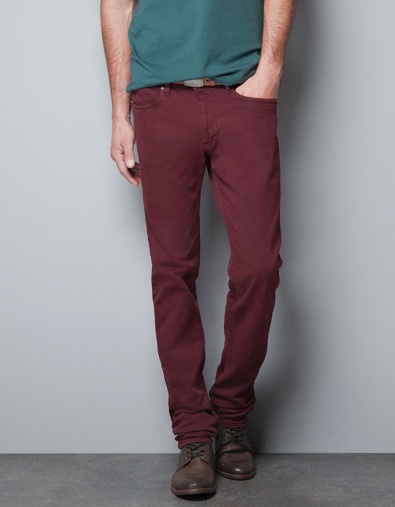 SLIM FIT MUSTARD TROUSERS - Jeans - Man - ZARA