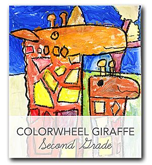 Video and lesson plan that shows kids how to draw and  paint a colorful giraffe using primary colors
