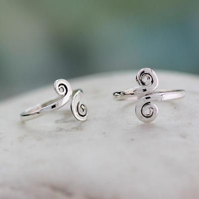 Handcrafted Sterling Silver Toe Rings from India (Pair) - Luminosity | NOVICA
