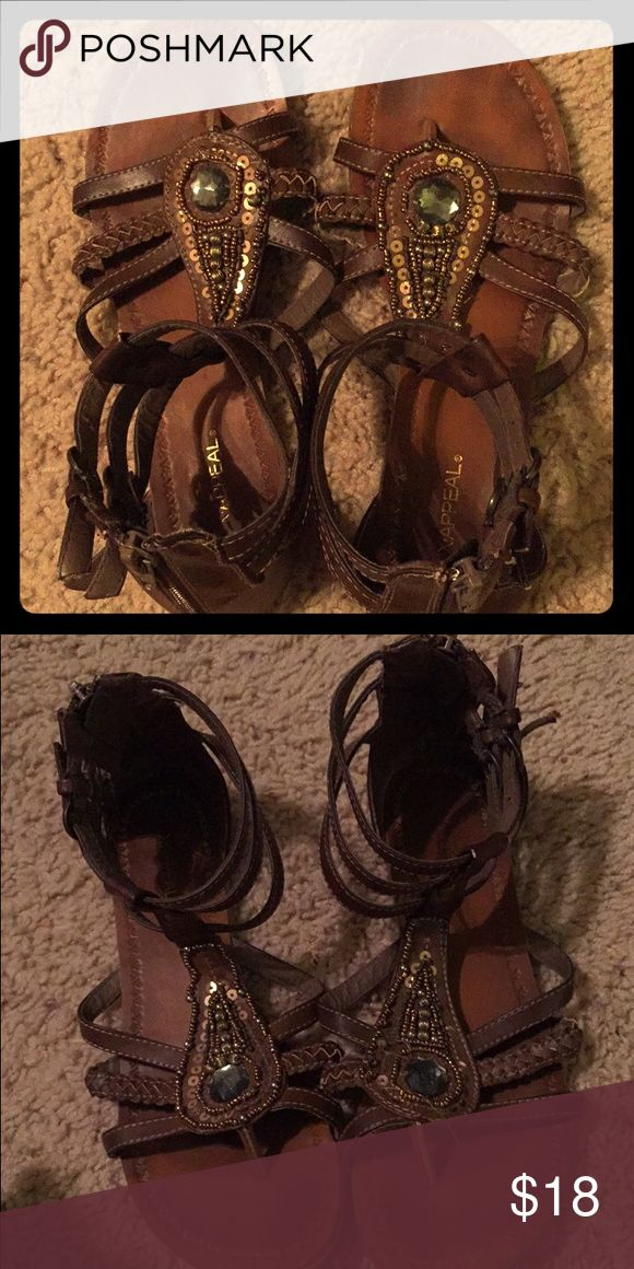 Sandals Brown, leather sandals with jewels and sequins attached. Matches every outfit! Will accept offers! Tilly's Shoes Sandals