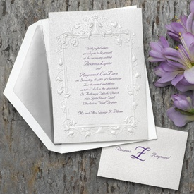 Embossed White Shimmer Panel Invitation An Elegant Fl Border Highlights Your Wording On This Shimmering Traditional Wedding