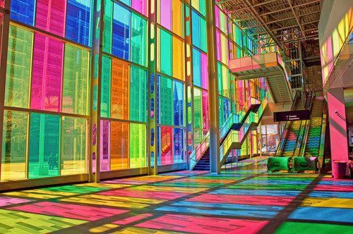 Le Palais des Congrès in Montréal, Quebec #stainglass    http://www.servicemagicconnection.com/image-of-the-week-stained-glass-wall/