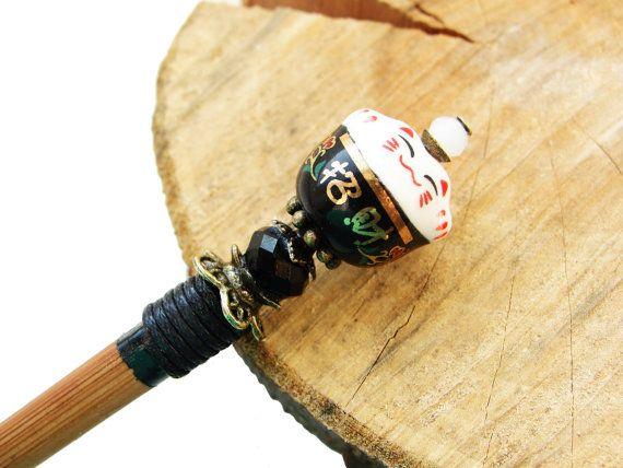 Short wooden japanese hair stick and maneki neko fortune lucky cat ceramic bead with white n black crystals - kanzashi, hairpin, ornament