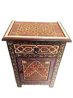 Moroccan Handpainted Nightstand Wood End Table Arabesque Design Furniture