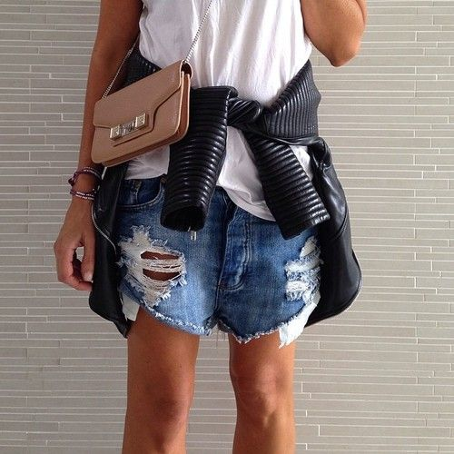 Tuesday …Baggy shorts, white tee, some leather and a baby #proenzaschouler by tashsefton