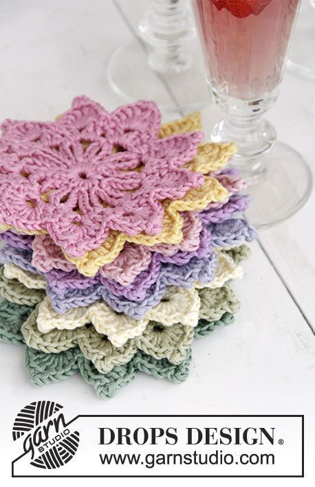 Floral Toast crocheted coasters, free pattern from Garnstudio