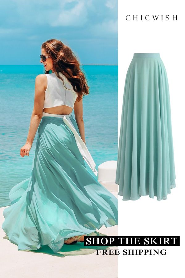 Girl Elastic Waist White Flower Mint Green Chiffon Posh Maxi Length Skirt 2-7Y