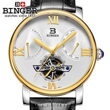 Switzerland watches men luxury brand Wristwatches BINGER Mechanical Wristwatches Diver waterproof leather strap watch BG-0408-3(China (Mainland))