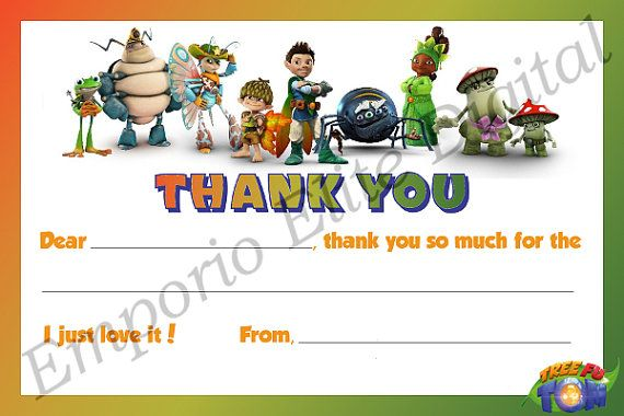 INSTANT DOWNLOAD Tree Fu Tom Printable Birthday Party Thank You Card Note, Digital PDF File for Tree Fu Tom Theme Party