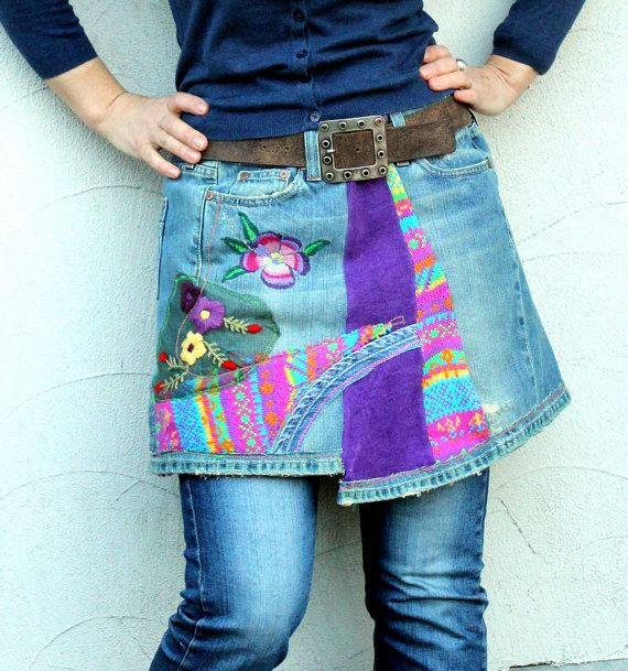 Crazy patchork denim and sweaters mini skirt hips by jamfashion, $72.00  Interesting refashion idea