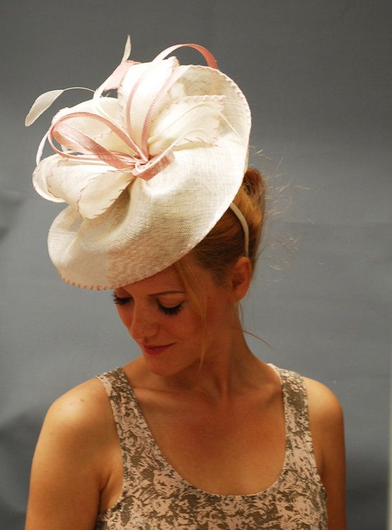 Ivory Fascinator Hat for Ascot, Derby, Weddings. Designer hat for special occasions