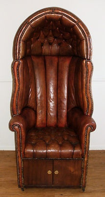 ORIG 19th C Hall Porter English Leather Canopy Chair