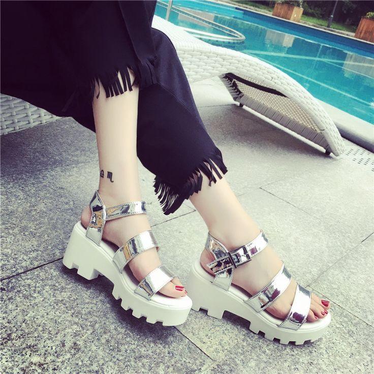 Pas cher 2016 Printemps et D'été Femmes Sandale Vintage  Évider Sandales Fond Épais Plate Forme Sandalias Chaussures de  ...