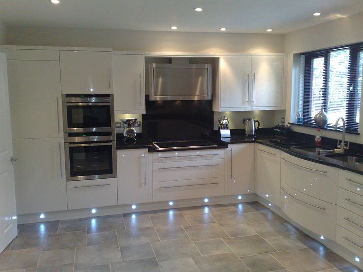 Spots Not Blue Led Though High Gloss Cream Kitchen Decoration