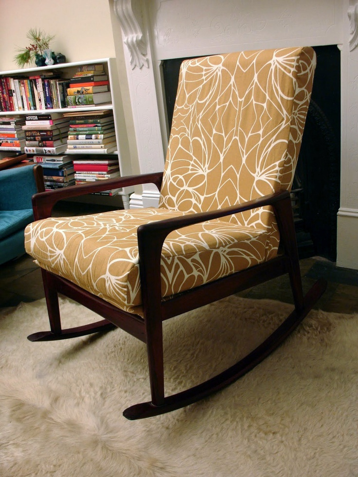 """Our Fler rocking chair, recovered in """"Bugsey"""" fabric by publisher textiles."""