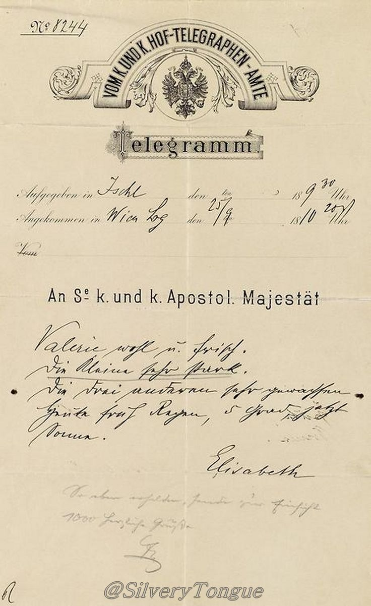 Telegram written by Empress Elisabeth (September 25th, 1896) on occasion of the birth of her grandchild, Archduchess Hedwig, daughter of Archduchess Marie Valerie.