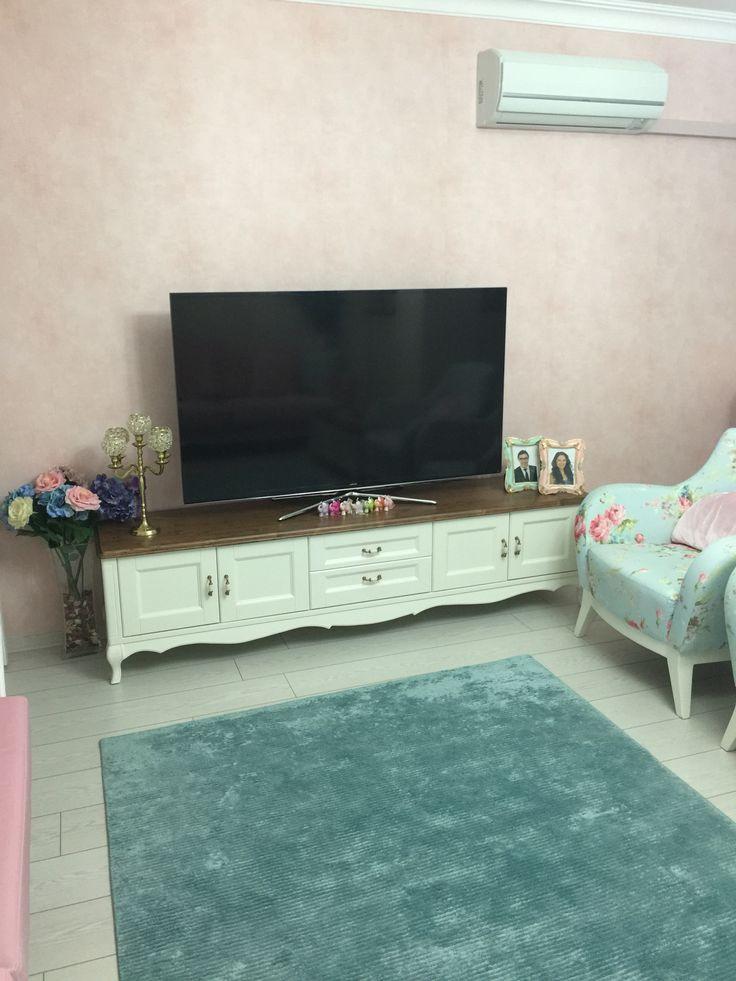 Salon tv sehpası country turkuaz beyaz
