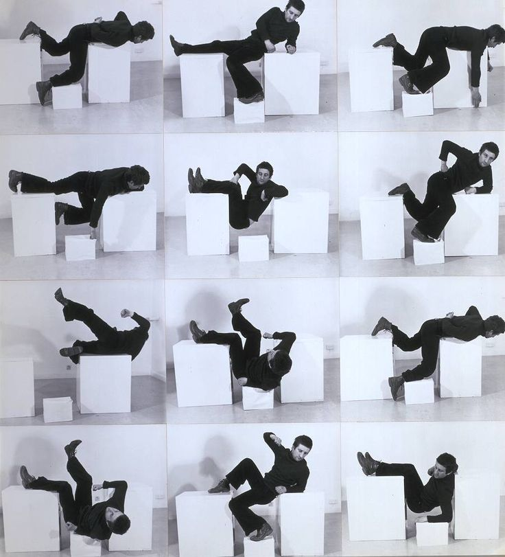 Glossary term: Performance Art Performance art is where an artist uses their own body as a art medium and the artwork takes the form of actions performed by the artist. This term is suitable for secondary school and further education. Bruce McLean, 'Pose Work for Plinths 3' 1971
