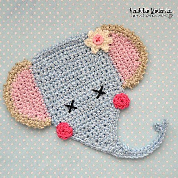 Crochet patrones - apliques elefante - VendulkaM crochet, patrón digital DIY, pfd