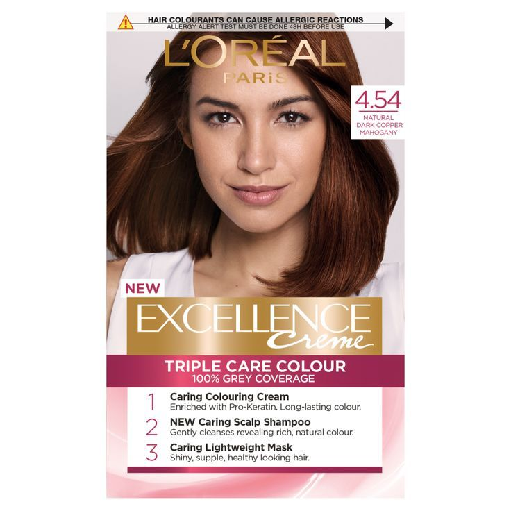 Loreal Paris Excellence 4 54 Natural Dark Copper Mahogany Hair Dye Mahogany Hair Loreal Dyed Hair