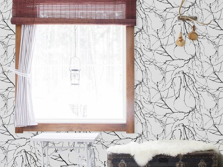Oksat Black Wallpaper - A stunning wallpaper adorned with stylish tree branches in black on a white background. Exclusive in NZ to Harvey Furnishings.