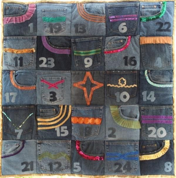 Upcycled jeans advent calender project. finally something to do with all those jean pockets I can't throw away.