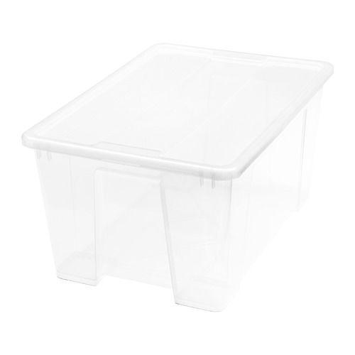 IKEA - SAMLA, Boîte avec couvercle, 57x39x28 cm/45 l, , Comme la boîte est en plastique transparent, vous pouvez facilement et rapidement trouver ce que vous cherchez.Grâce à son couvercle, la boîte est empilable et le contenu protégé.