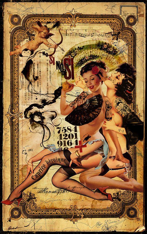 BetweenMirrors.com | Alt Art Gallery: Handiedan - Retro Pin-Up Collage Art