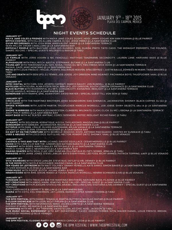 Night Event Schedule BPM Festival 2015 @ Playa Del Carmen, MX