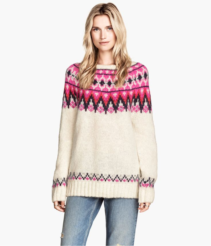 White jacquard-knit sweater in wool blend with bright pink Fair ...