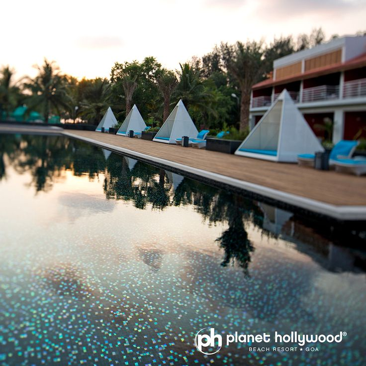 The breathtaking sunset at pool side is worth a fortune!!! #PHGoa  #BeachResort #Goa.  #Book your stay online at www.planethollywoodgoa.com