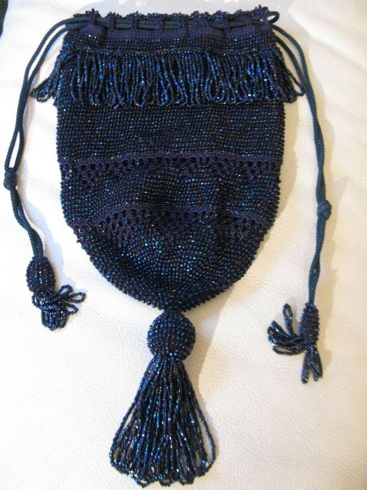 Antique Art Deco Navy Crochet Blue Carnival Bead Tassel Drawstring Flapper Purse #EveningBag