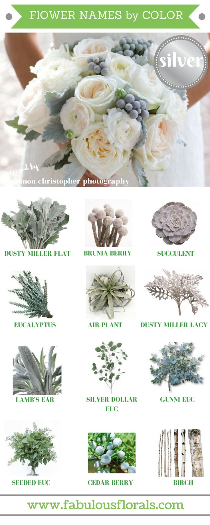 Natural Silver/ grey flower accents  http://howtodiyweddingflowers.com/