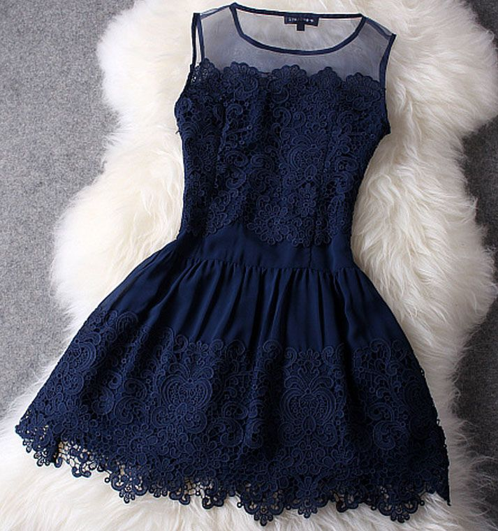 Dark blue lace dress if only the picture was a model actually wearing the dress so i can see how it looks on.