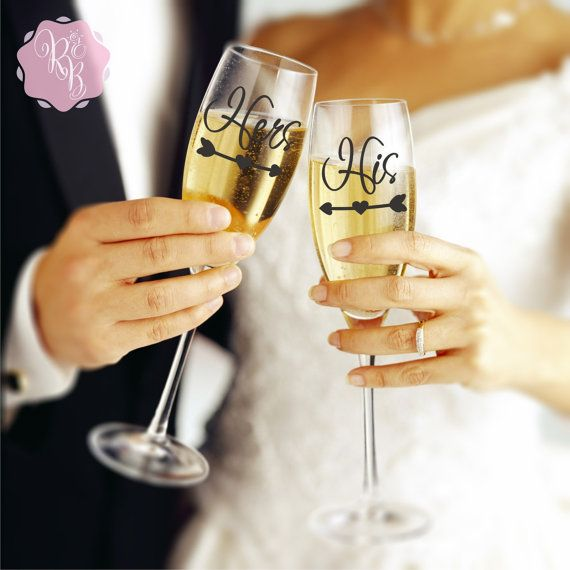 Check out this item in my Etsy shop https://www.etsy.com/uk/listing/269839542/wedding-champagne-flute-decals-his-and